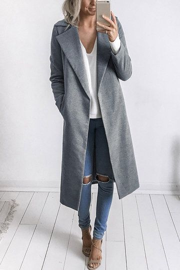 Fashion Long Sleeves Causal Outerwear in Grey from mobile - US$43.95 -YOINS