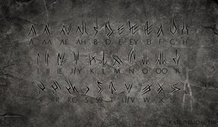 Aerie Draconic Rune Alphabet by KatePfeilschiefter