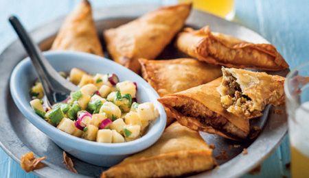 Bobotie samoosas with banana salsa
