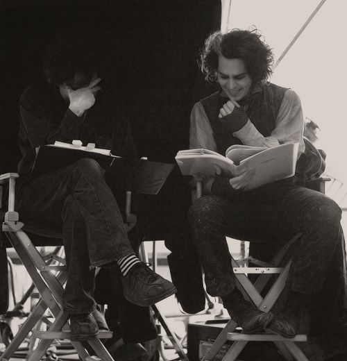Tim and Johnny on while filming Sweeney Todd