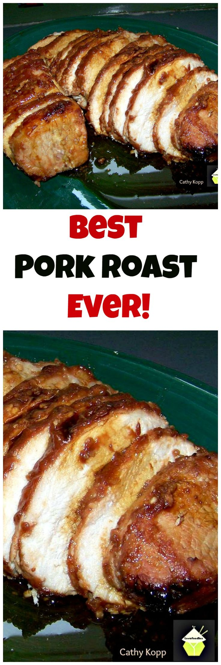 Best Pork Roast Ever! A lovely marinade which will give great flavor and keep your pork juicy. Great for the oven of grill. | Lovefoodies.com