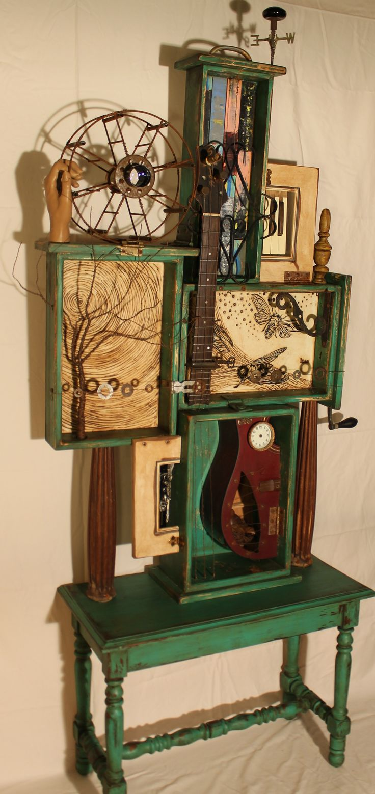 "Assemblage Art--""Music resonates from the earth""--Encaustic, Found Objects, Wire, Ink, and Oil--Timeless Series www.kathymooreart.com"