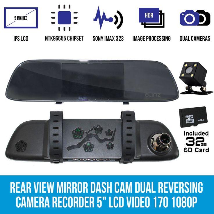 "Rear View Mirror 170° Dash Cam Dual Reversing Camera 5"" LCD Video 1080P 32GB"