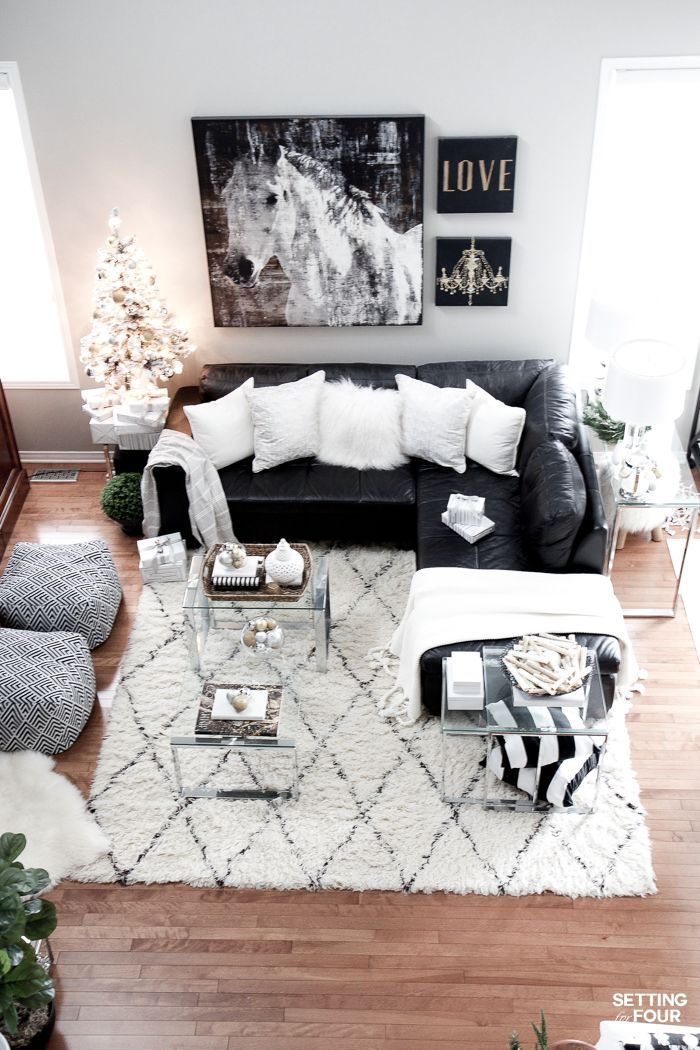 See My Glam Black White And Gold Family Room Decor Ideas I Kept My Holiday Leather Couches Living Room Black Sofa Living Room Black Leather Couch Living Room