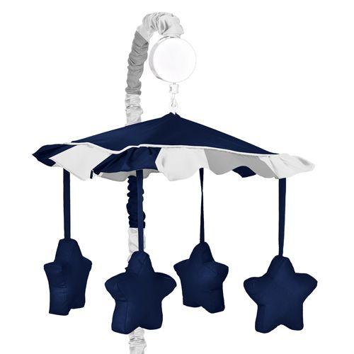 Sweet Jojo Musical Mobile for Gray and Navy Blue Stripes Boys Baby Crib Bedding Set