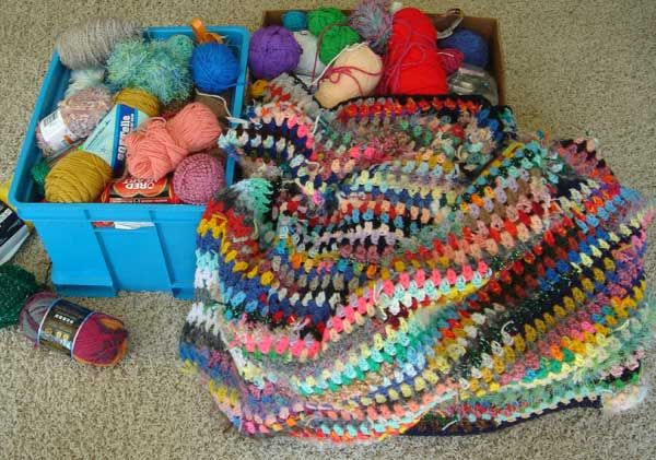 Turning scraps into fun afghans.  A pattern to crochet a scrap afghan and a place to donate an afghan or to donate yarn.