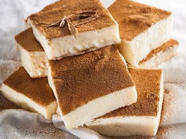 No-bake milk tart squares  Here's a beginner version of this traditional treat