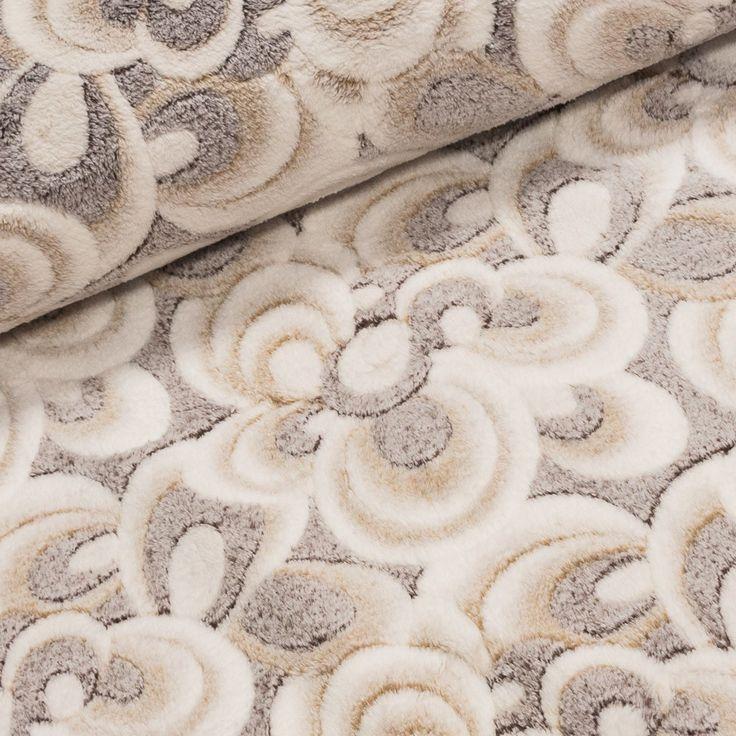 Mikroflanel / flanel fleece BABY SOFT béžové melírované květy, š.150cm (látka v metráži) | Internetový obchod Chci Látky.cz