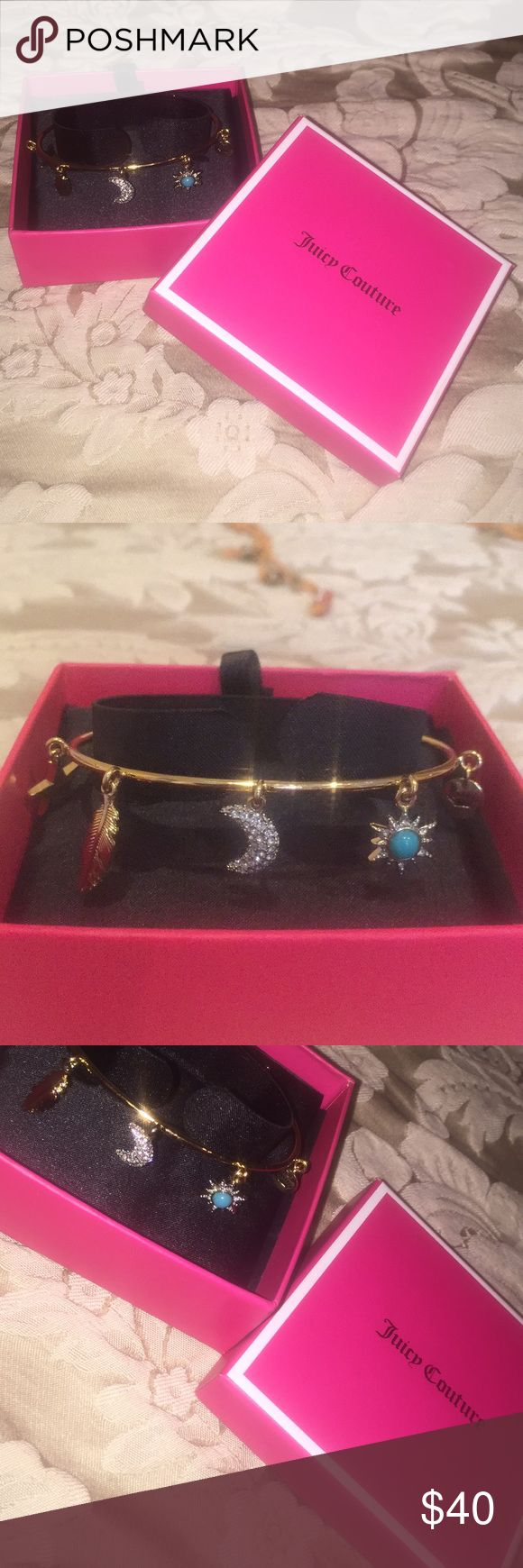 Juicy Couture Charm Bracelet Beautiful Juicy Couture Charm Bracelet. It has never been worn and is new with tags. Such a gorgeous Bracelet. It reminds me of Pandora! It will come in the box that I bought it in! Juicy Couture Jewelry Bracelets
