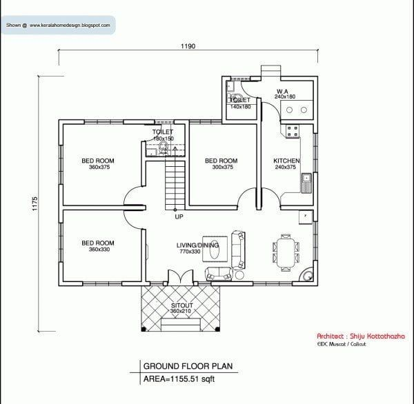 Three Bedroom House Designs India In 2020 House Construction Plan Traditional House Plans Simple House Plans