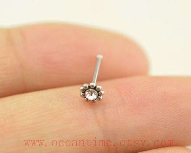 Nose ring,little flower nose stud,316L Surgical Steel Nose Rings,cute flower nose stud,girlfriend gift,oceantime