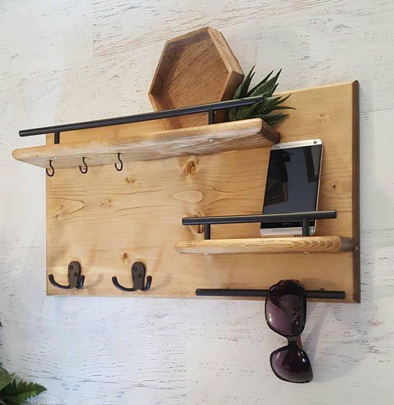 Wood Coat Rack Entryway Organizer Mail Storage Key Hook