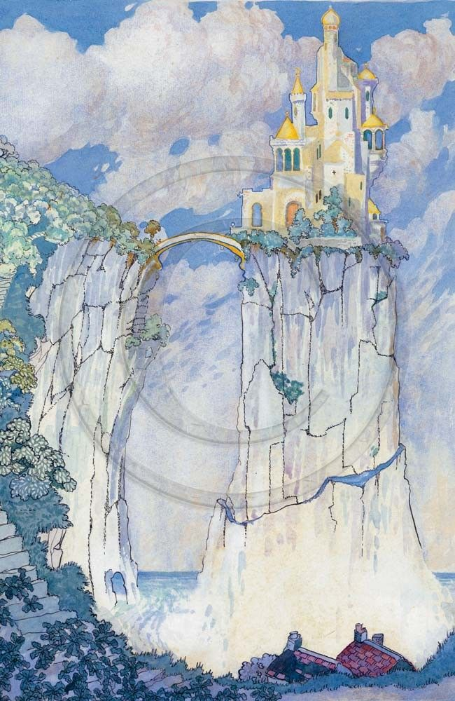 Fairy Tale Castle Vintage Illustration 1920s Large Print