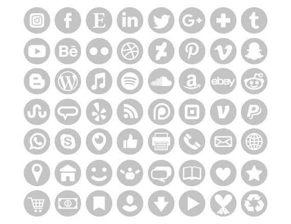 Gray Social Media Icons Set Png Svg Vector Transparent Round Circle Avatar Flat Color Buttons Blog Website Digital Icons Commercial Use In 2021 Social Media Icons Media Icon Custom Icons
