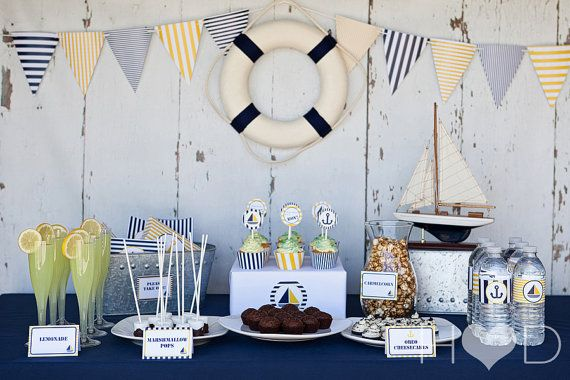 Blue and Gold Nautical Baby Shower Complete por SOSPrintables