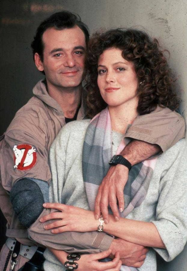 Bill Murray and Sigourney Weaver on the set of Ghost Busters