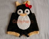 Baby Penguin Overall Shorties, Buttons at Legs for Easy Change - INSTANT DOWNLOAD Crochet e-Pattern