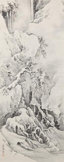 Waterfall and Twisted Pine in Snow 雪中瀑布溪水 by Maruyama Okyo (1733-1795), Japan 円山応挙