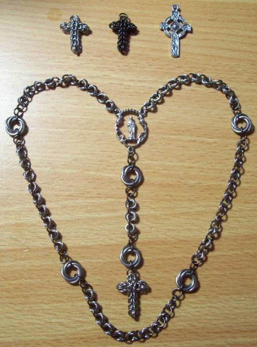 Black Chain Maille Rosary