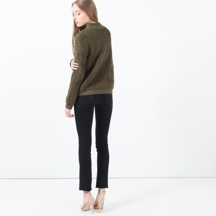 Aluna Textured Mock-Neck Sweater (Olive)  |  Modern Citizen