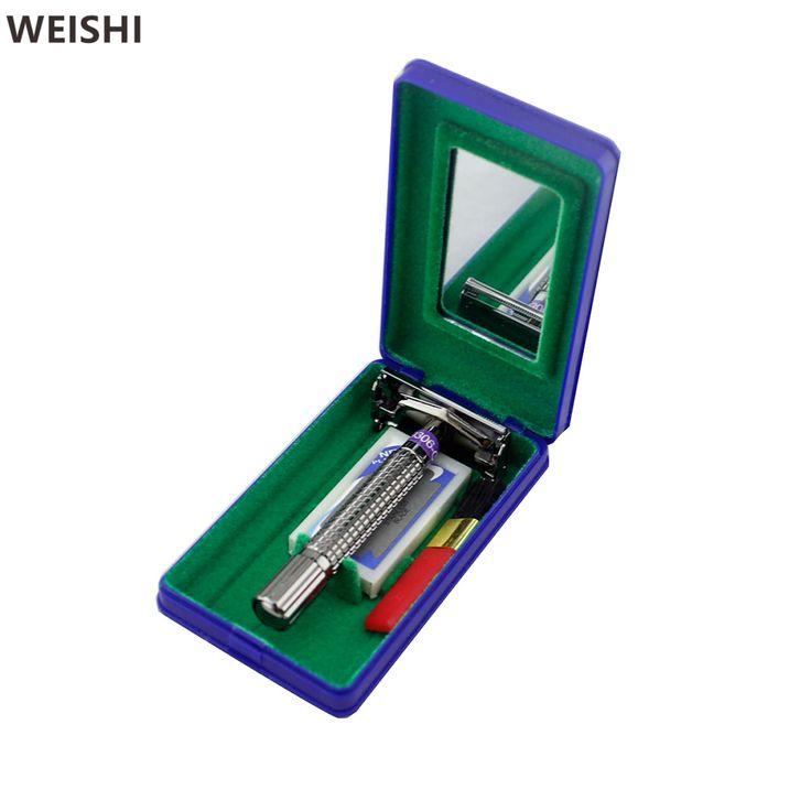 WEISHI 9306C Gunmetal Double edge Manual Shaver Men Safety Razor with travel plastic case