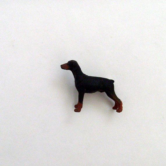 Doberman Brooch Lapel Pin / 3D Black Brown / Pet by ME2Designs