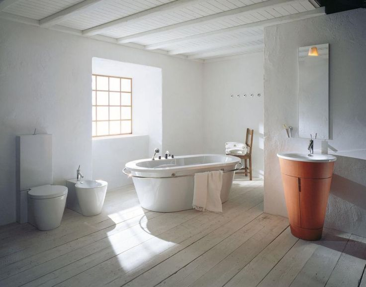 Classic Bathroom Scandinavian Style Design With Bathtub On Wooden Floor Along With Orange Pedestal Sink And Wooden Ceiling Bathroom Scandinavian Style Design Bathroom