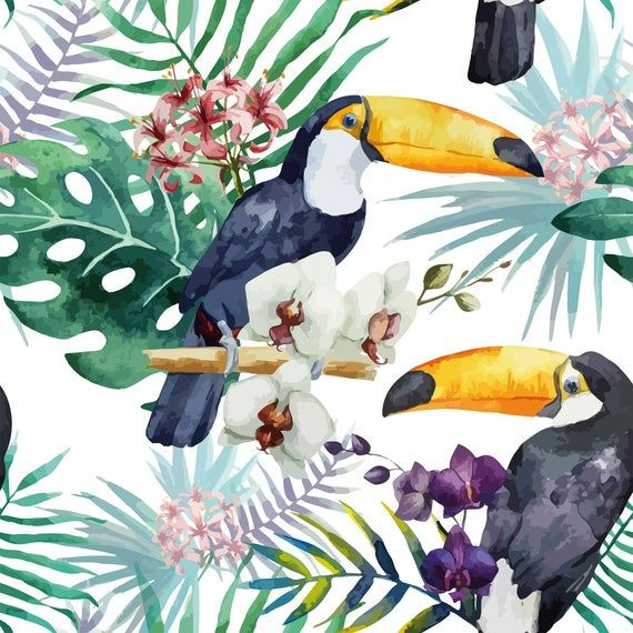 White And Purple Bird Animal Peel And Stick Removable Etsy In 2021 Watercolor Pattern Bird Art Print Art
