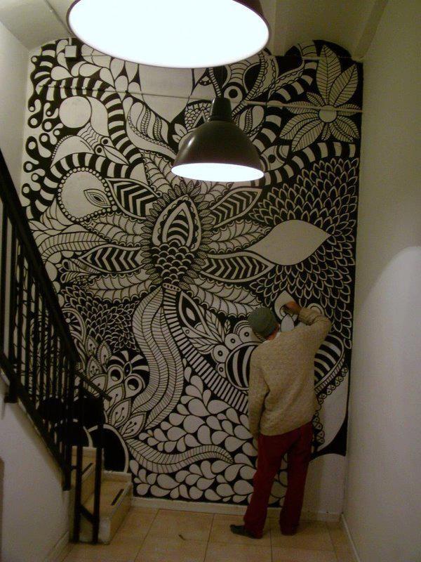 ©MarianoPadilla - Mural - Wall Painting - Uni Posca on 19m² wall - Hostel One Barcelona #Zentangle