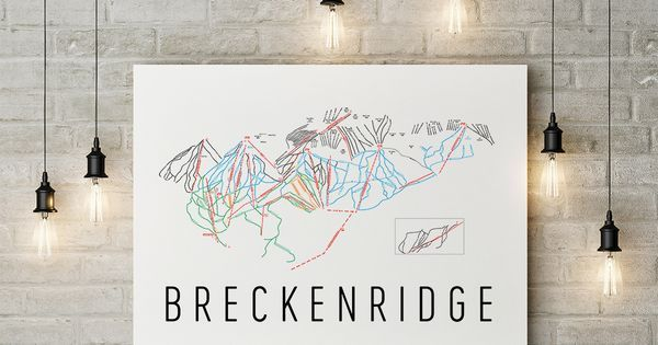 Breckenridge Ski Map Art Trail Map Print Poster.