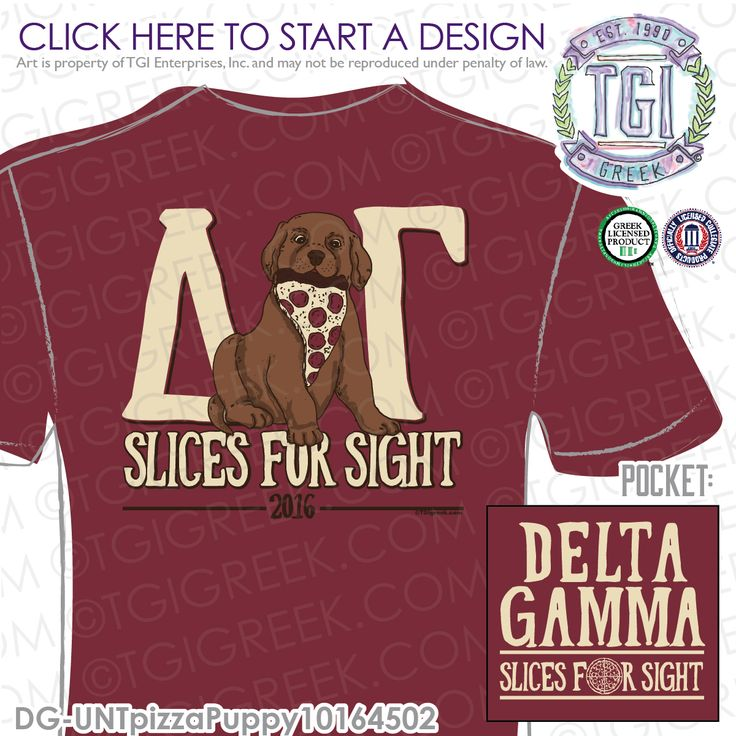 Delta Gamma | DG | ΔΓ | Slices for Sight | Philanthropy T-Shirts | Philanthropy Tees | Mixer T-shirts | Sorority Philanthropy Tees | Date Party Tees | Sisterhood | Greek Mixers | Greek Philanthropy | TGI Greek | Greek Apparel | Custom Apparel | Sorority Tee Shirts | Sorority T-shirts | Custom T-Shirts