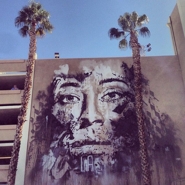Vhils RiseAbove In Downtown Las Vegas /// First piece  no carving