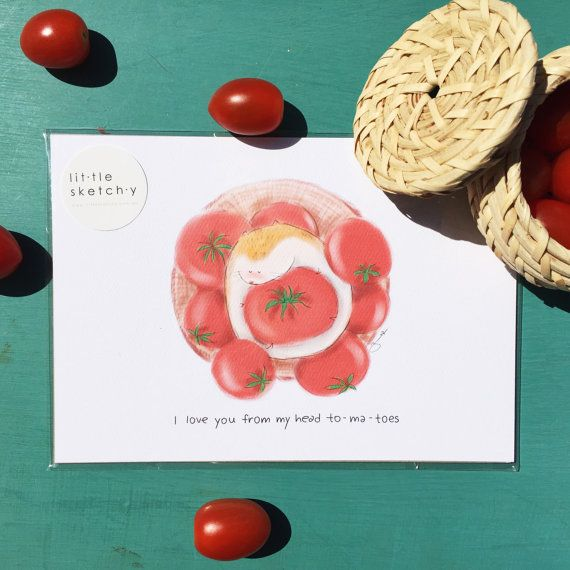 Tomato. funny pun funny art print. Love card. by littlesketchyaus