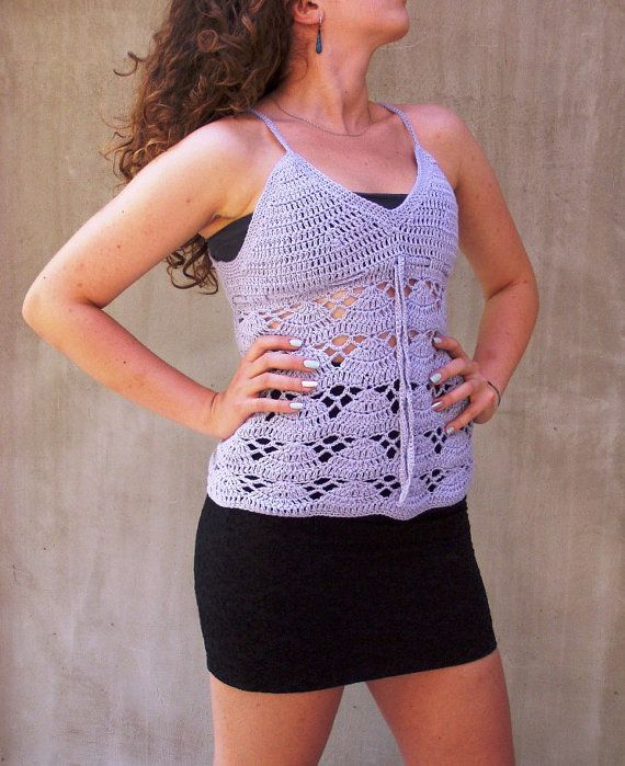 Lavender Hand Crocheted Lace Top halter vest corset by HEraMade, $89.00
