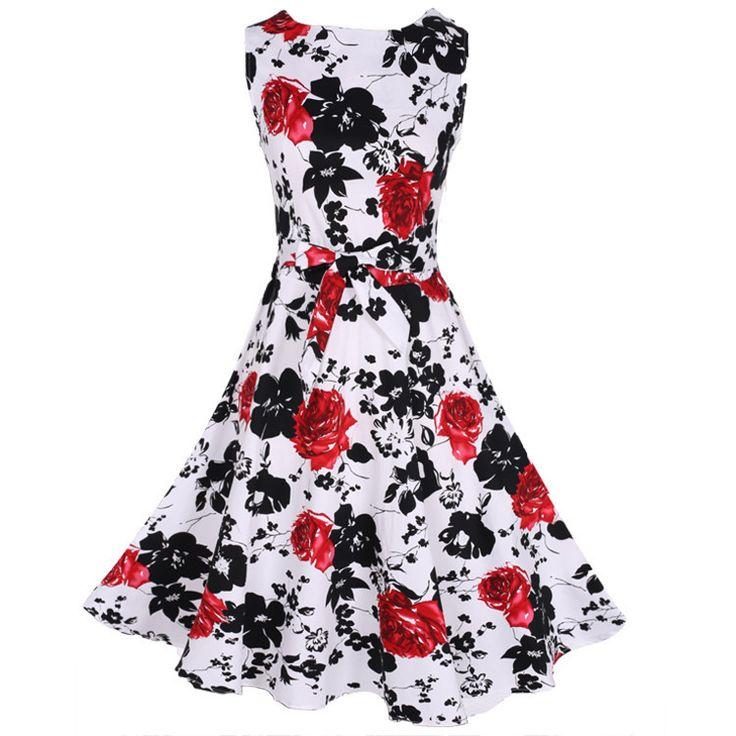 Women's Vintage Sleeveless Rockabilly Swing Floral Dress