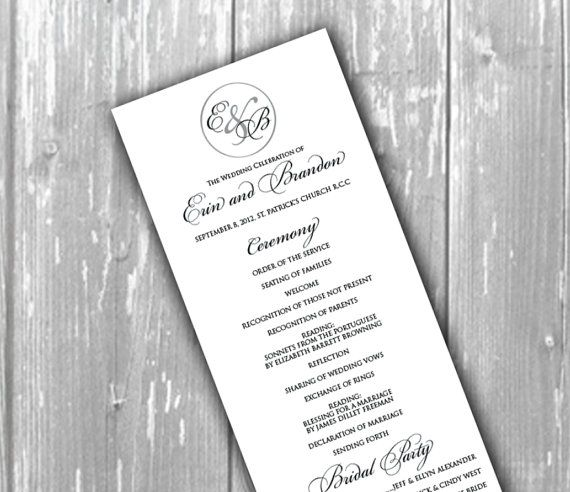 Elegant wedding program church program by TheMemoryTrunk on Etsy ...