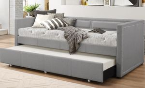 Raymond Fabric Nailhead-Trim Twin-Size Sofa Daybed with Roll-Out Trundle Bed