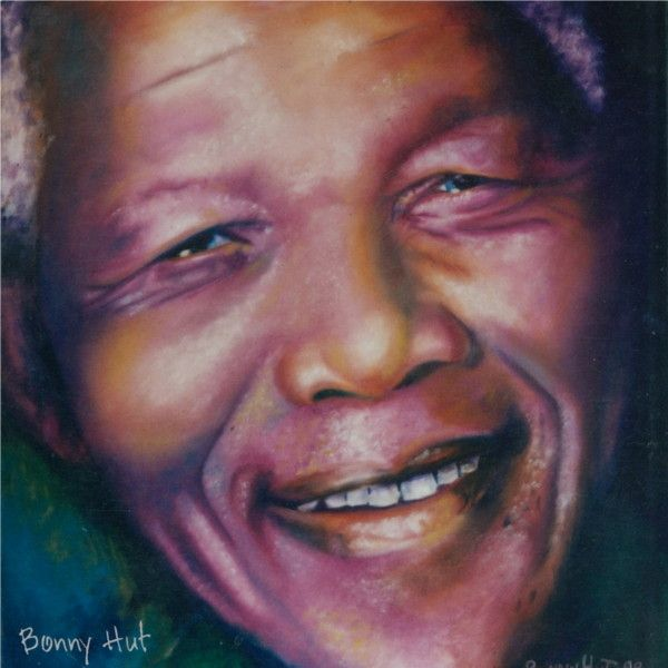 A portrait of recently deceased ex south african president, Nelson Mandela. The image used for reference for this oil painting was taken directly from an election poster which was taken down from a street pole, straight after the famous 1994 elections by the artist, Bonny Hut, who left South Africa in 1997.