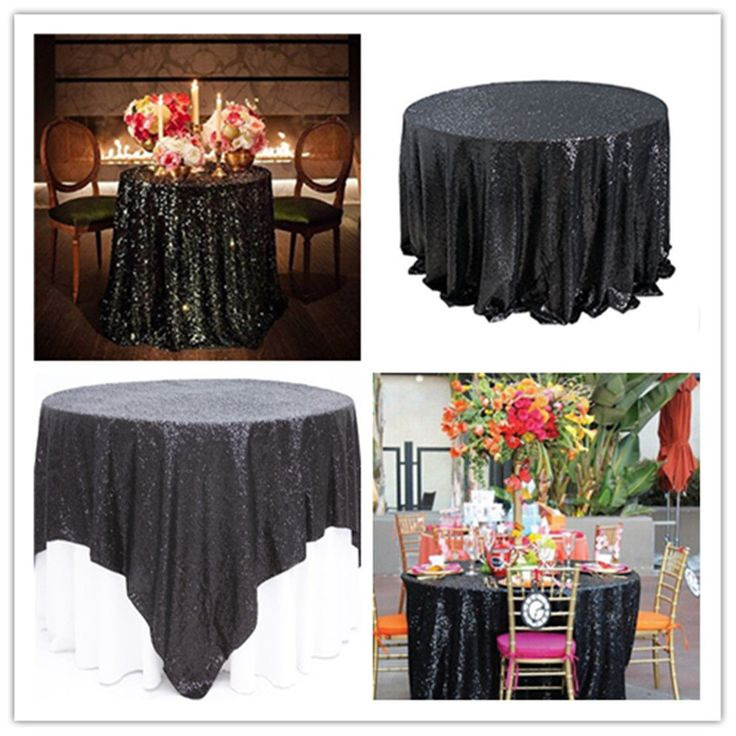 Trlyc Sequin Black Round Wedding And Decoration Tablecloth ,More Color Available