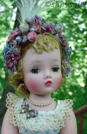 Cissy by Madame Alexander  Original Alexander dress  Hat designed & hand-made by shpysgirl  1950s vintage doll jewelry