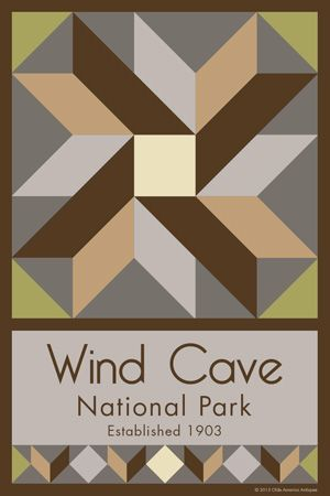 Wind Cave National Park Quilt Block designed by Susan Davis. Susan is the owner of Olde America Antiques and American Quilt Blocks She has created unique quilt block designs to celebrate the National Park Service Centennial in 2016. These are the first quilt blocks designed specifically for America's national parks and are new to the quilting hobby.