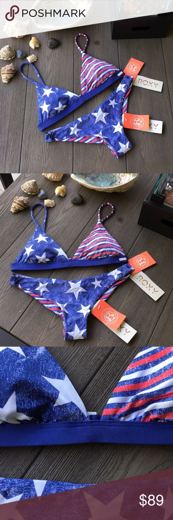 Roxy bikini reversible Brand new with tags both top and bottom size extra small. Also the top and bottom are reversible for many different combinations. Roxy Swim Bikinis