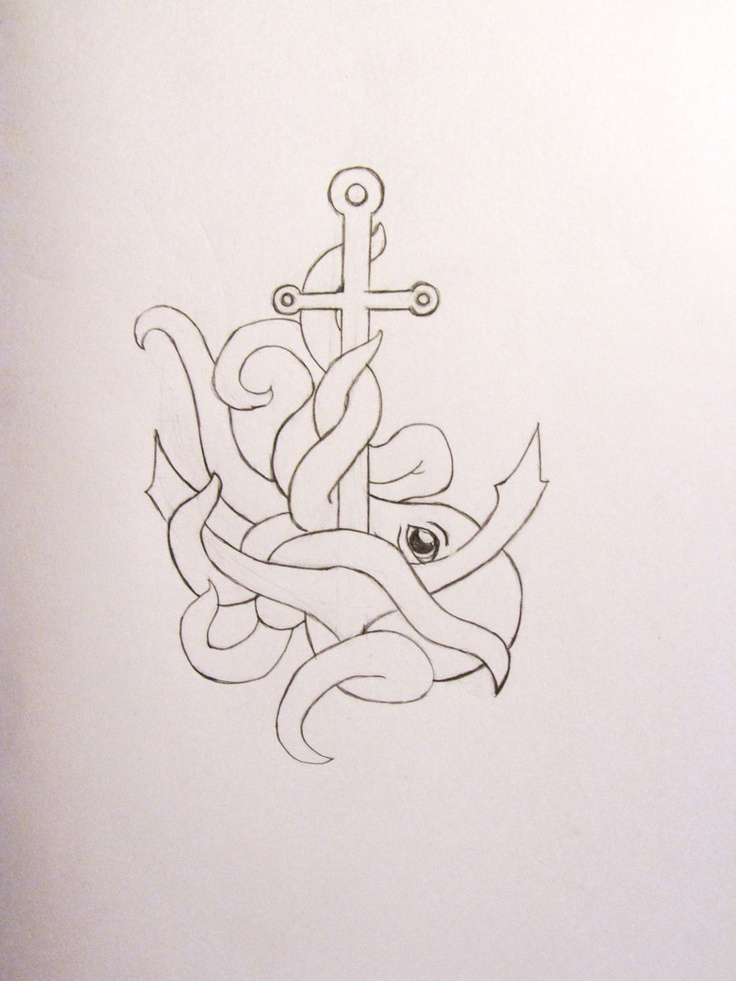 Incorporate an octopus into my anchor tattoo?? Tattoo in black and white. Add just a touch of Blue to the octopus?