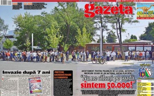 Mîine e Steaua - Legia » Arena va fi full cu stelişti, azi se vînd ultimele bilete! Copertă specială a Gazetei