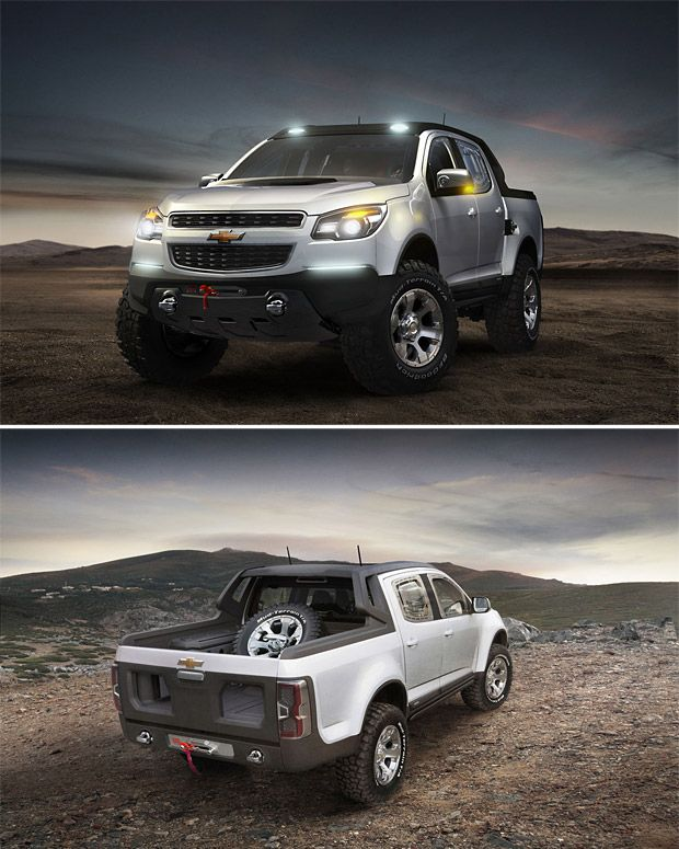 Chevy Colorado Rally    The new Chevy Colorado Rally concept truck looks like it could drive right up and over Hyundais and Kias and crush them like ants. The question is, will the forthcoming production model of the new truck actually look this badass? We hope so. The aggro design, dual front and rear winches, auto-adjust suspension, and beefy 2.8-liter diesel motor will make it a formidable foe against the newest Tacoma, Ranger, and Nissan Frontier.