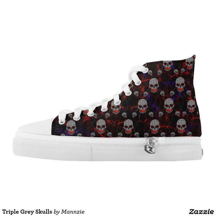 Triple Grey Skulls Printed Shoes