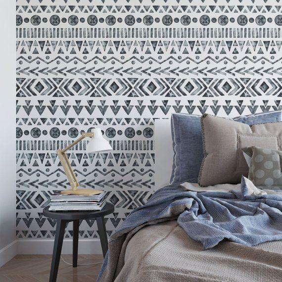 Black And White Boho Removable Wallpaper T123 27 Etsy Removable Wallpaper Temporary Wallpaper Funky Home Decor