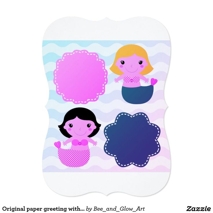 Original paper greeting with Mermaids / blue Card