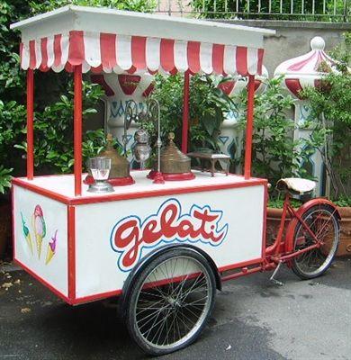 Crazy Art. ice cream cart with bicycle