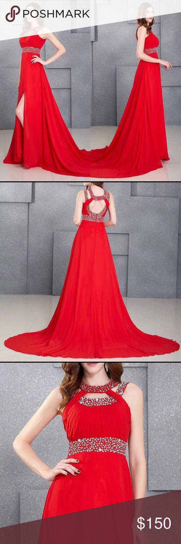 Crystal Beads Floor Length Red Dress Crystal beads floor Length red prom evening dress. Dresses Prom